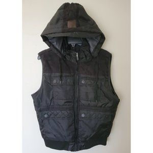 Sportier Black men's Puffer Vest  attached Hood
